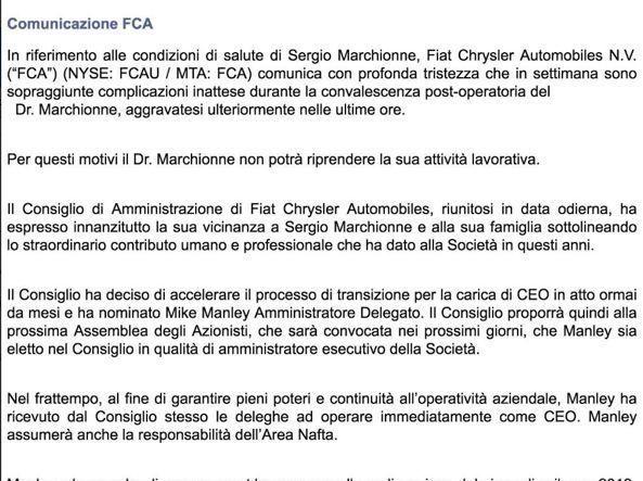 Marchionne morto il 23 luglio a Maranello: Google sbaglia e si scusa